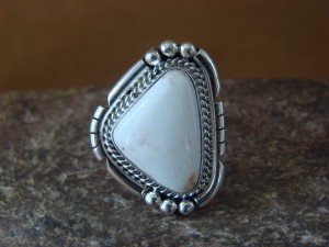 Native American Indian Jewelry Sterling Silver White Buffalo Ring, Size 8 1/2   S. Yellowhair