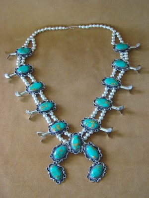 Native American Jewelry Turquoise Squash Blossom Necklace by Jackie Cleveland