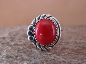 Navajo Indian Jewelry Sterling Silver Coral Ring Size 6.5 by Cadman