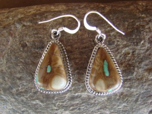 Navajo Indian Sterling Silver Boulder Turquoise Dangle Earrings!