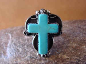 Native American Nickle Silver Turquoise Cross Ring Size 6 by Phoebe Tolta