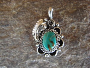 Navajo Indian Jewelry Sterling Silver Turquoise Pendant by Freda Martinez