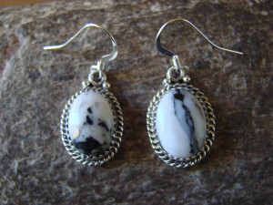 Navajo Indian Sterling Silver White Buffalo Turquoise Dangle Earrings - Yellowhair