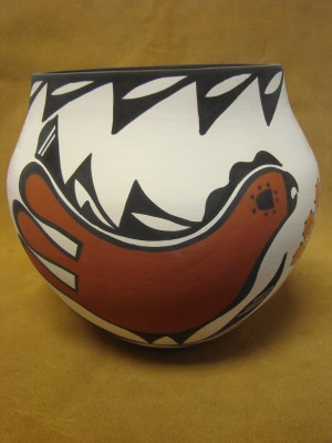 Native American Acoma Indian Pottery Hand Coiled & Painted Pot by David Antonio!