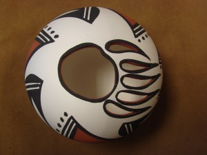 Native American Acoma Indian Pottery Handmade & Painted Bear Claw Pot by Antonio