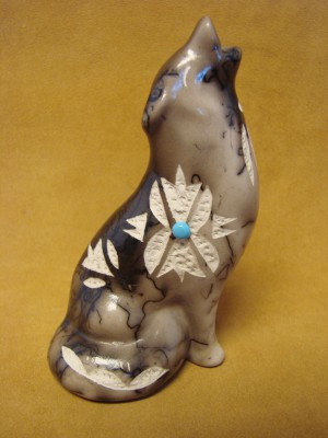 Native American Pottery Horse Hair Howling Wolf by Vail! Navajo Sculpture Pot