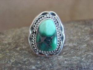 Native American Indian Jewelry Sterling Silver Variscite Ring, Size 7 1/2  S. Yellowhair