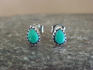 Native American Indian Jewelry Sterling Silver Turquoise Tear Drop Post Earrings!