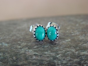 Native American Indian Jewelry Sterling Silver Turquoise Oval Post Earrings!