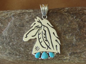 Native American Jewelry Sterling Silver Turquoise Horse Pendant - Vandever!
