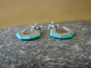 Zuni Indian Jewelry Sterling Silver Turquoise Inlay Mini Hoop Earrings by Chopito