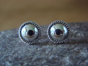 Native American Indian Jewelry Sterling Silver Concho Post Earrings! Theresa Kinsel