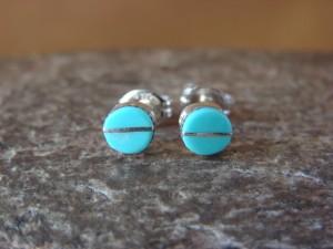 Zuni Indian Sterling Silver Petite Turquoise Post Earrings - Laweka