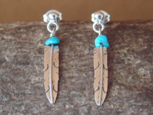 Native American Jewelry Stamped Sterling Silver & Turquoise Feather Post Earrings by Arviso