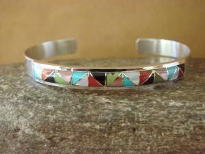Zuni Indian Jewelry Sterling Silver Multistone Inlay Bracelet by Gloria Tucson