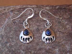 Navajo Indian Jewelry Sterling Silver Lapis Bear Paw Dangle Earrings!