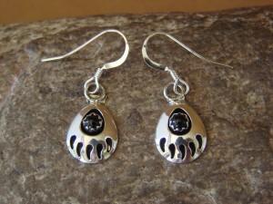 Navajo Indian Jewelry Sterling Silver Black Onyx Bear Paw Dangle Earrings!