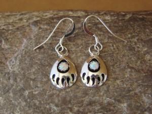 Navajo Indian Jewelry Sterling Silver White Opal Bear Paw Dangle Earrings!