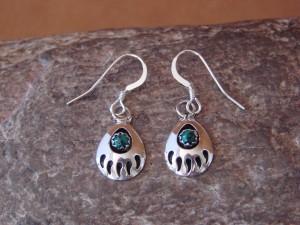 Navajo Indian Jewelry Sterling Silver Malachite Bear Paw Dangle Earrings!