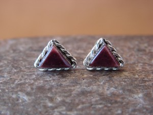 Native American Sterling Silver Triangular Purple Spiny Oyster Post Earrings by LeAnder Cachini