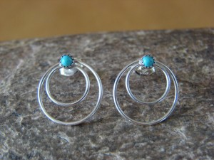 Navajo Jewelry Sterling Silver Circle Hoop Turquoise Post Earrings by Sylvia Chee