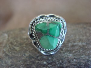 Native American Indian Jewelry Sterling Silver Variscite Ring, Size 5 1/2   S. Yellowhair