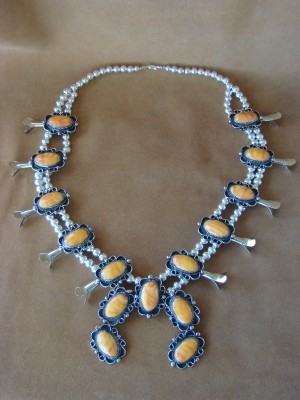 Native American Jewelry Spiny Oyster Squash Blossom Necklace by Jackie Cleveland