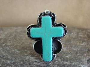 Native American Nickle Silver Turquoise Cross Ring Size 9 1/2 by Phoebe Tolta