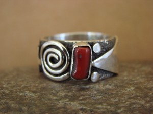 Native American Jewelry Sterling Silver Coral Ring by Alex Sanchez Size 9 1/2