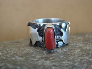 Native American Jewelry Sterling Silver Coral Ring by Alex Sanchez Size 4 1/2