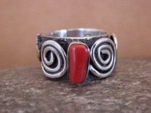 Native American Jewelry Sterling Silver Coral Ring by Alex Sanchez Size 6