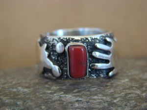 Native American Jewelry Sterling Silver Coral Ring by Alex Sanchez Size 6 1/2