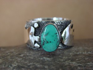 Native American Jewelry Sterling Silver Turquoise Ring by Alex Sanchez Size 10 1/2
