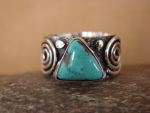 Native American Jewelry Sterling Silver Turquoise Ring by Alex Sanchez Size 11 1/2
