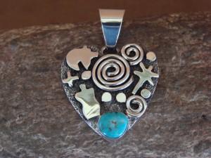Navajo Indian Sterling Silver Turquoise Petroglyph Heart Pendant Alex Sanchez!