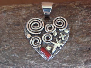 Navajo Indian Sterling Silver Coral Petroglyph Heart Pendant Alex Sanchez!