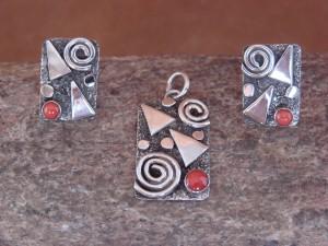 Navajo Indian Sterling Silver Coral Pendant & Earrings Set Alex Sanchez
