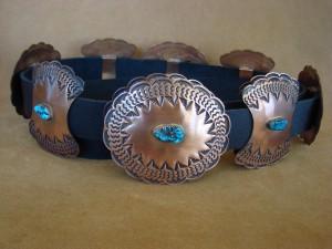 Native American Stamped Copper Hand Stamped Concho Belt - Doug Etsitty