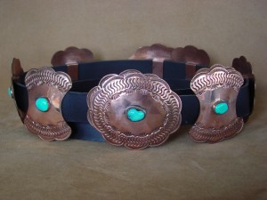 Native American Stamped Copper Hand Stamped Turquoise Concho Belt - Doug Etsitty