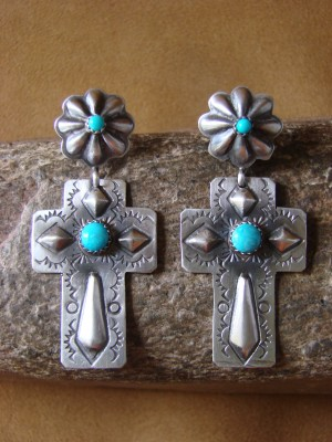 Native American Hand Stamped Silver Cross with Turquoise Earrings by Rite Lee!