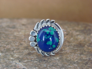 Navajo Indian Jewelry Sterling Silver Azurite Ring Size 6 by Cadman