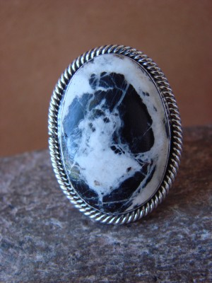Native American Jewelry Sterling Silver White Buffalo Turquoise Men's Ring Size 16