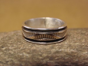 Native American Sterling Silver 14k Gold Ring Band, Size 10 by Bruce Morgan! C0206