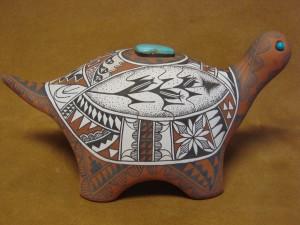 Jemez Pueblo Indian Handmade Clay Turtle Sculpture by Scott Small