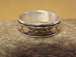 Native American Sterling Silver 14k Gold Ring Band, Size 11 by Bruce Morgan! C0208