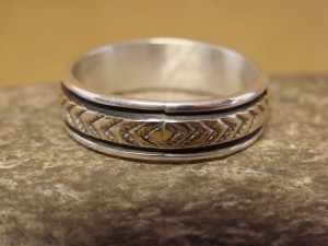 Native American Sterling Silver 14k Gold Ring Band, Size 12 1/2 by Bruce Morgan! C0211