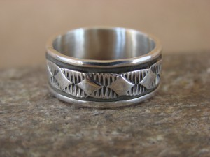 Native American Jewelry Sterling Silver Ring Band, Size 6 by Bruce Morgan!