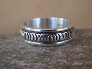 Native American Jewelry Sterling Silver Ring Band, Size 12 by Bruce Morgan!