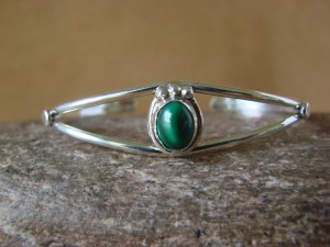 Navajo Indian Jewelry Sterling Silver Malachite Bracelet by J. Mariano