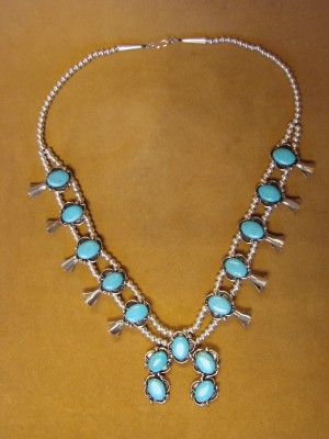 Native American Jewelry Turquoise Squash Blossom Necklace by Phoebe Tolta AC1- 75